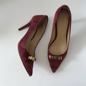 Michael Kors Maroon Suede Heels with Gold Bow